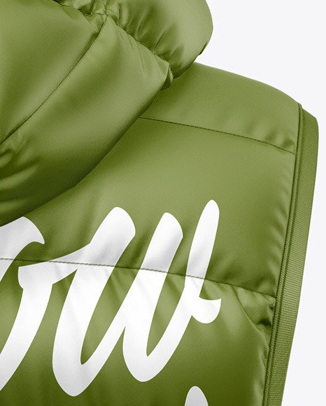 Matte Women's Down Vest w/Hood Mockup - Back View