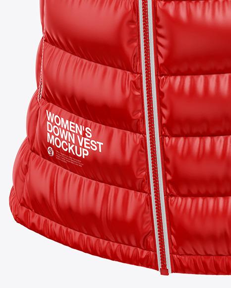 Glossy Women's Down Vest w/Hood Mockup - Front Half Side View