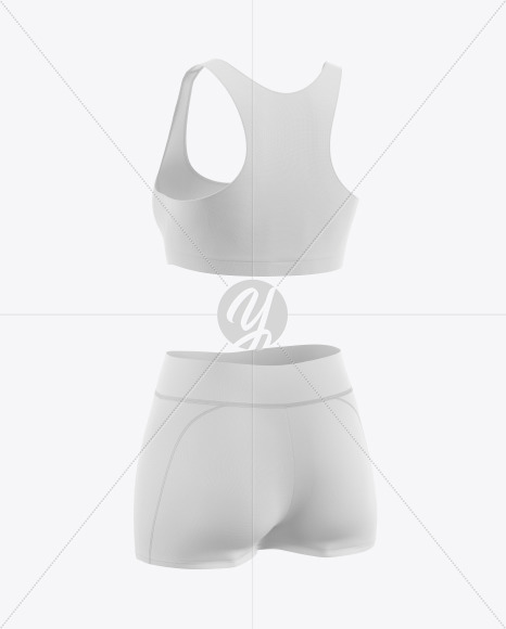 Women's Fitness Kit Mockup - Back Halfside View