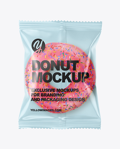 Plastic Bag With Pink Glazed Donut with Sprinkles Mockup