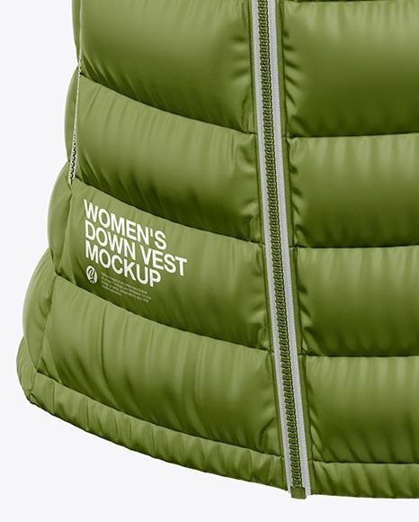 Matte Women's Down Vest w/Hood Mockup - Front Half Side View