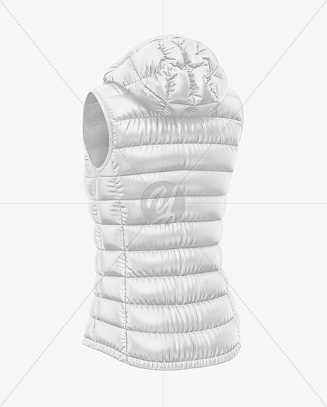 Glossy Women's Down Vest w/Hood Mockup - Back Half Side View
