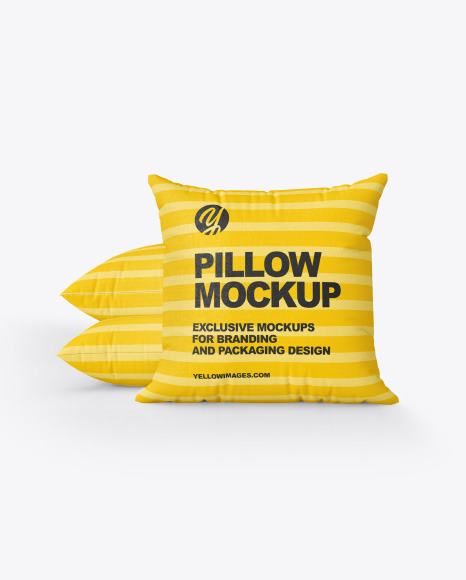 Three Square Pillows Mockup