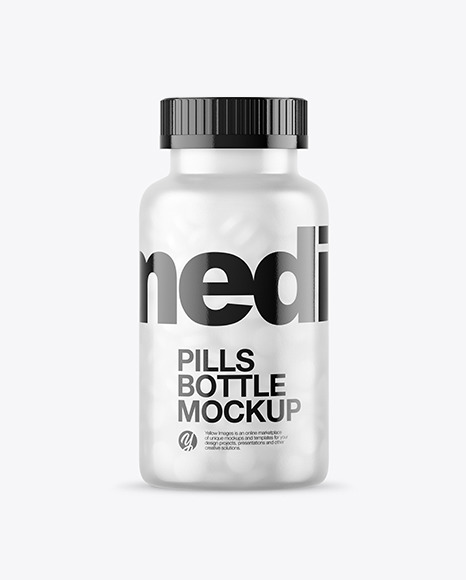 Frosted Glass Bottle With Pills Mockup