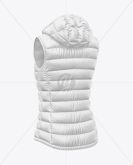 Matte Women's Down Vest w/Hood Mockup - Back Half Side View