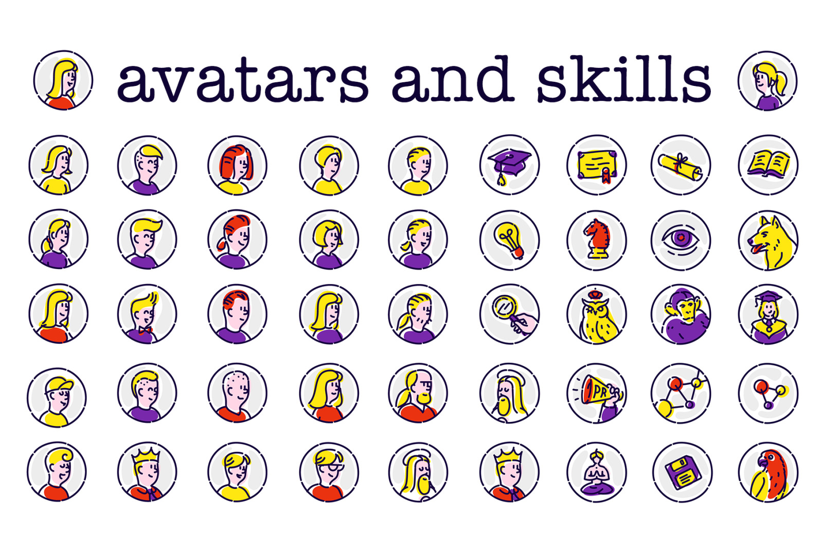 Illustrations of IT developers. Icons and avatars.