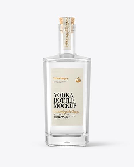 Vodka Bottle with Cork Mockup