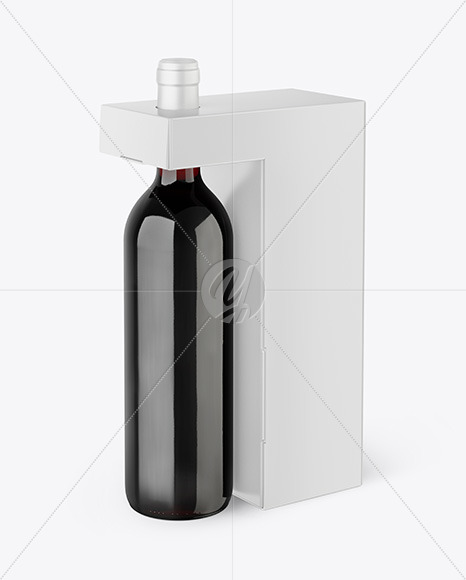 Green Glass Red Wine Bottle with Box Mockup