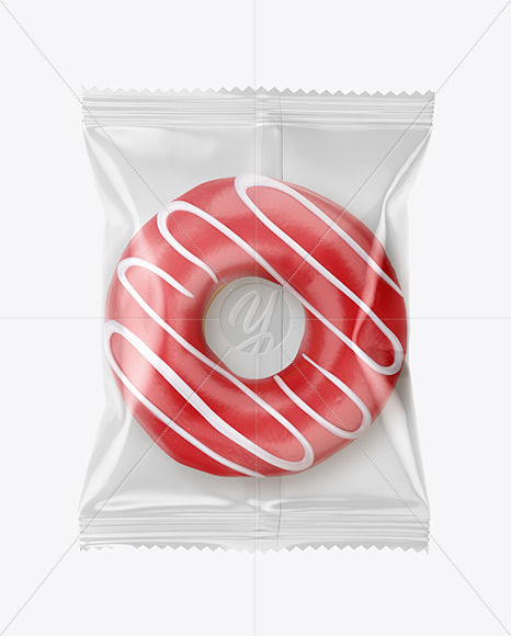 Download Clear Plastic Bag With White Glazed Donut With Pink Stripes Mockup PSD - Free PSD Mockup Templates