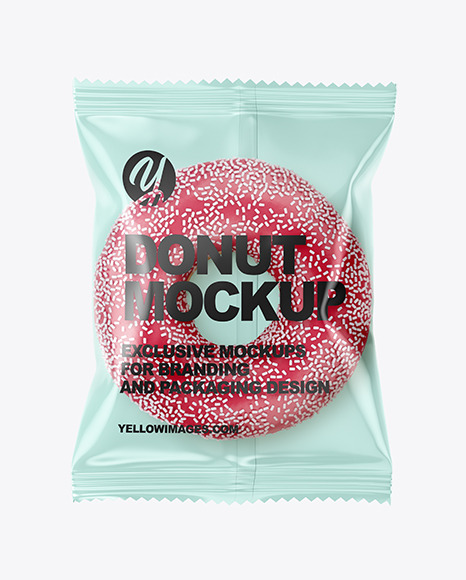 Plastic Bag With Pink Glazed Donut With White Sprinkles Mockup In