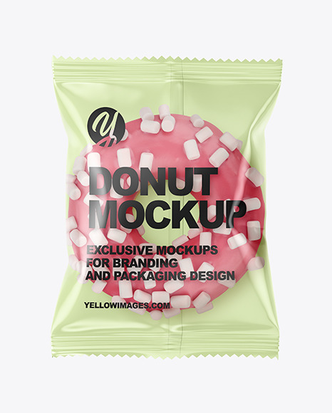 Plastic Bag With Pink Glazed Donut with Marshmallows Mockup