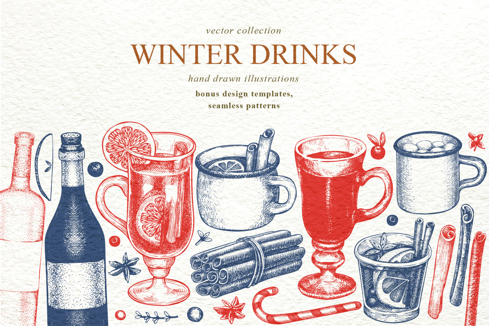 Winter Drinks Vector Collection