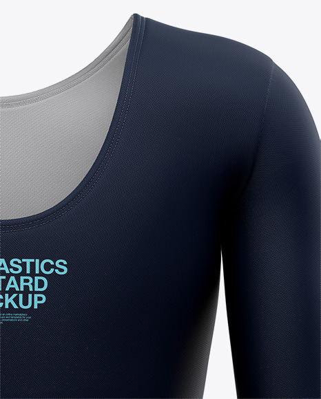Long Sleeve Gymnastics Leotard Mockup - Back View