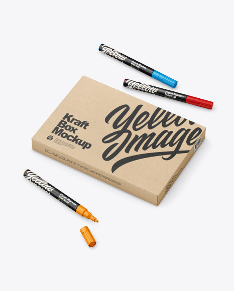 Glossy Box With Marker Pens Mockup