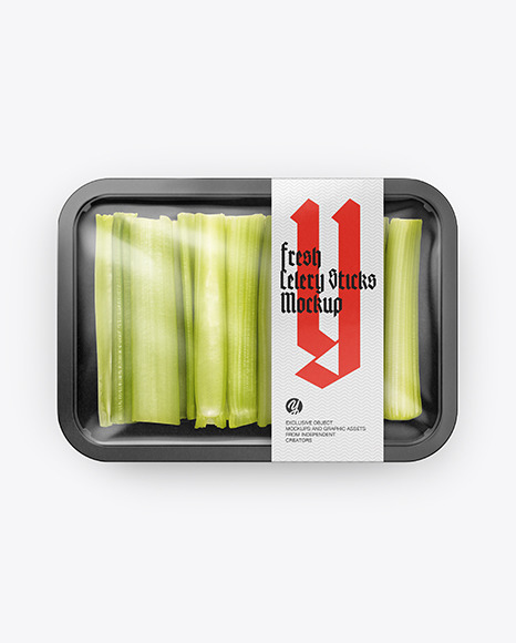 Plastic Tray With Celery Mockup
