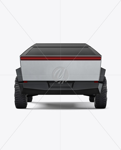 Electric Pickup Truck Mockup - Back View - Yellowimages Mockups