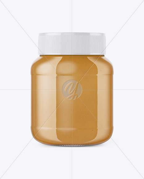 Glass Jar with Peanut Butter Mockup - Front View