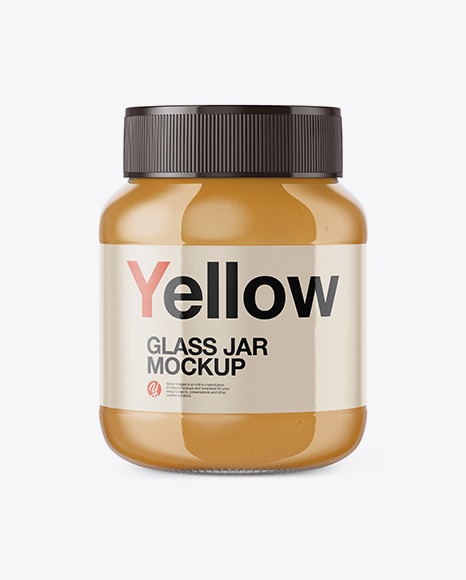 Download Glass Jar with Peanut Butter Front View PSD Mockup