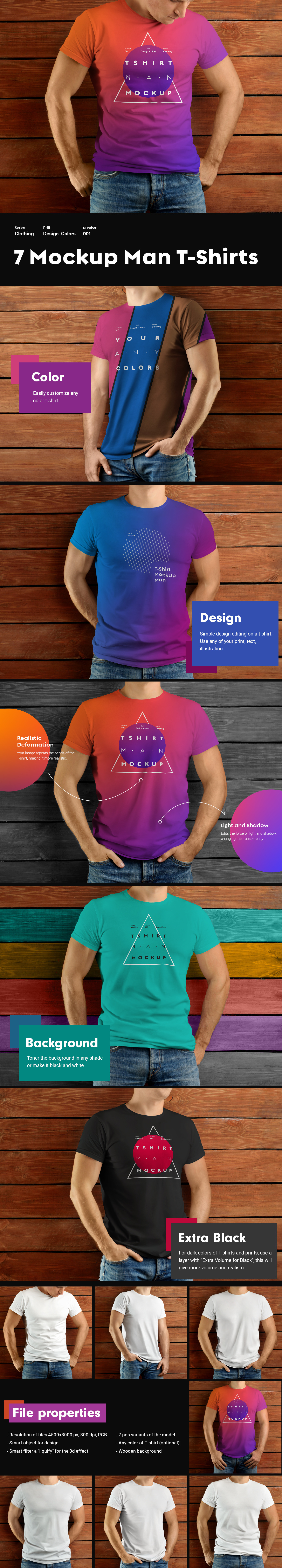 7 MockUps Man T-shirts on Wooden Background