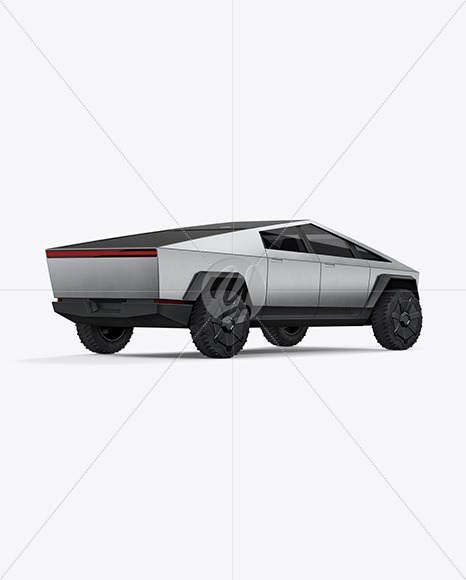 Electric Pickup Truck Mockup - Back Half Side View - Yellowimages Mockups