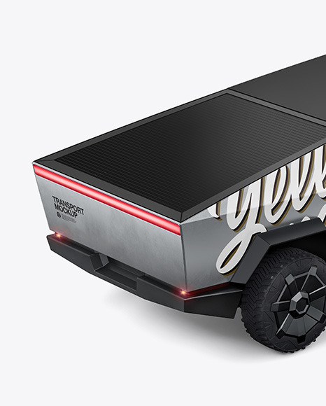 Electric Pickup Truck Mockup - Back Half Sid View