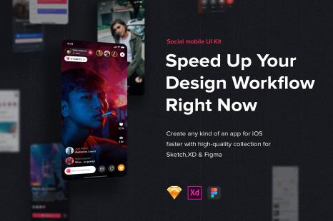 Jazam - Social mobile app UI Kit in UX & UI Kits on Yellow