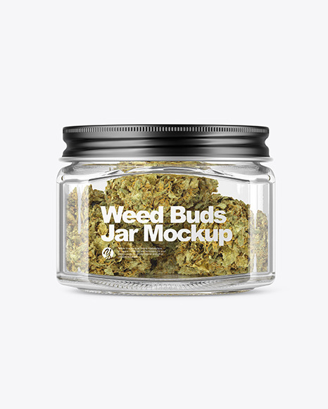 Square Glass Jar with Weed Buds Mockup