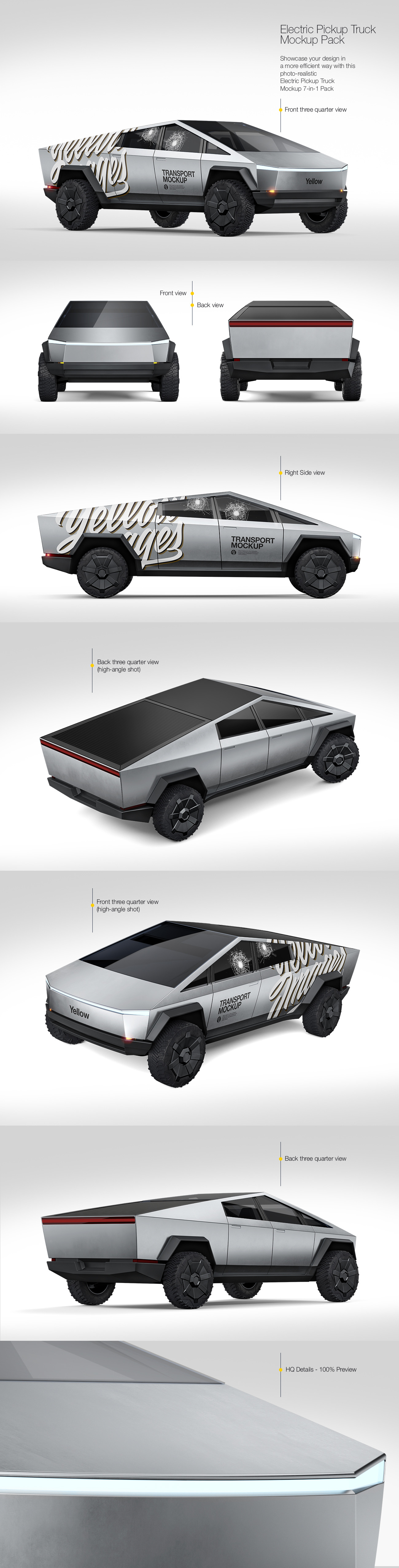 Electric Pickup Truck Mockup Pack
