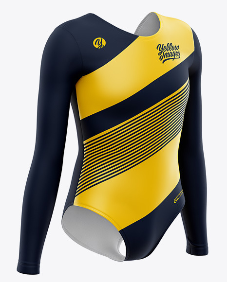 Download Long Sleeve Gymnastics Leotard Mockup Front Half Side View Yellowimages