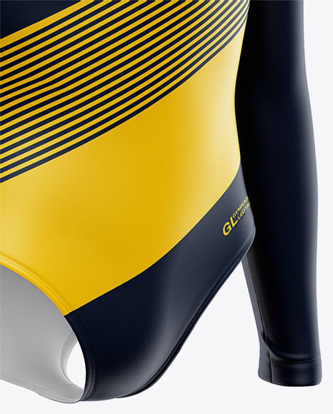 Long Sleeve Gymnastics Leotard Mockup - Front Half Side View