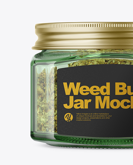 Square Green Glass Jar with Weed Buds Mockup