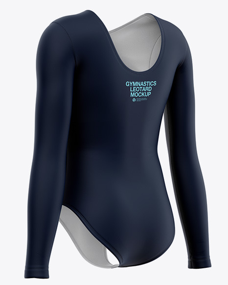 Long Sleeve Gymnastics Leotard Mockup - Back Half Side View