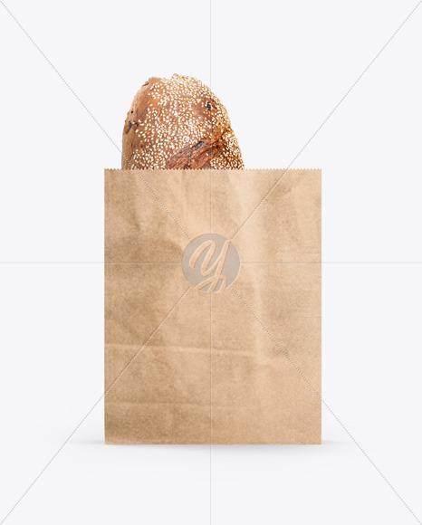 Kraft Bag With Bread Mockup