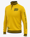 Men's Quarter Zip Sweatshirt Mockup - Front Half Side View Of Zipped Pullover
