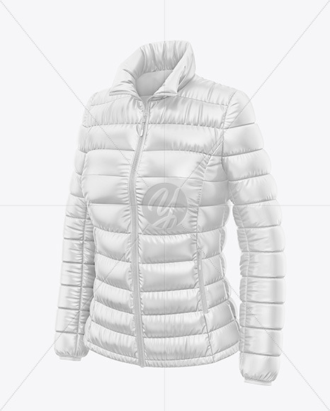 Glossy Women's Down Jacket Mockup - Front Half Side View