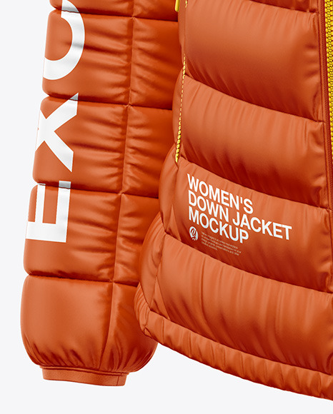 Matte Women's Down Jacket Mockup - Front Half Side View