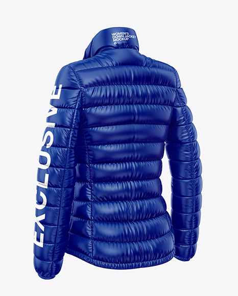 Glossy Women's Down Jacket Mockup - Back Half Side View