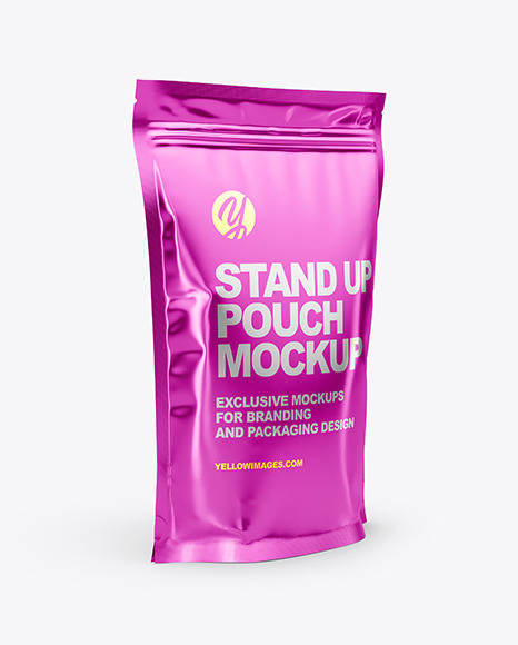Glossy Metallic Stand Up Pouch Mockup