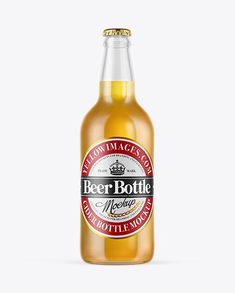 Download Clear Glass Lager Beer Bottle PSD Mockup