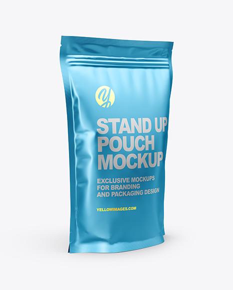Matte Metallic Stand Up Pouch Mockup