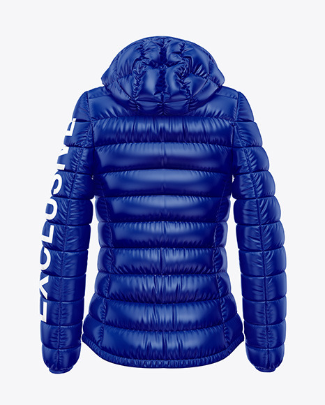 Glossy Women's Down Jacket w/Hood Mockup - Back View