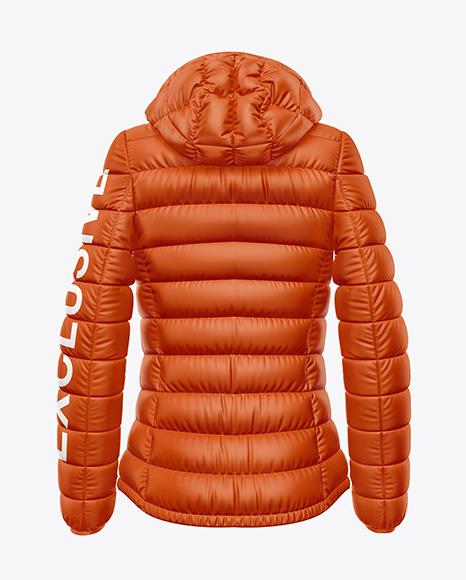 Matte Women's Down Jacket w/Hood Mockup - Back View