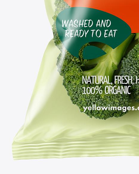 Plastic Bag With Broccoli Mockup
