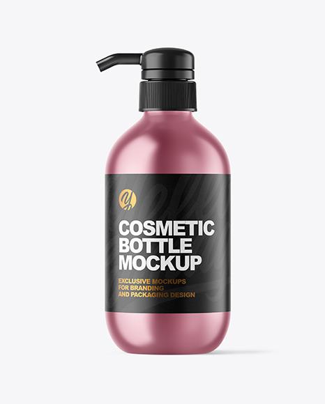 Metallic Cosmetic Bottle with Pump Mockup