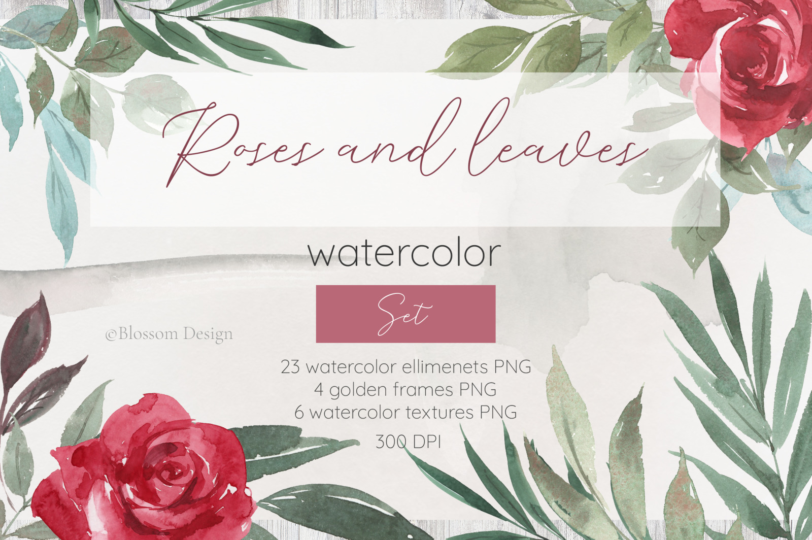 Roses and leaves. Watercolor set.