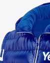 Glossy Women's Down Jacket w/Hood Mockup - Front Half Side View