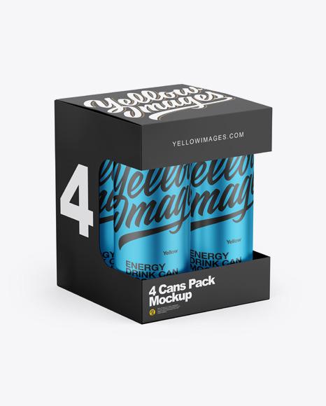 Box w/ Matte Metallic Cans Mockup
