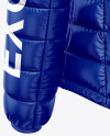 Glossy Women's Down Jacket w/Hood Mockup - Back Half Side View