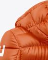 Matte Women's Down Jacket w/Hood Mockup - Back Half Side View