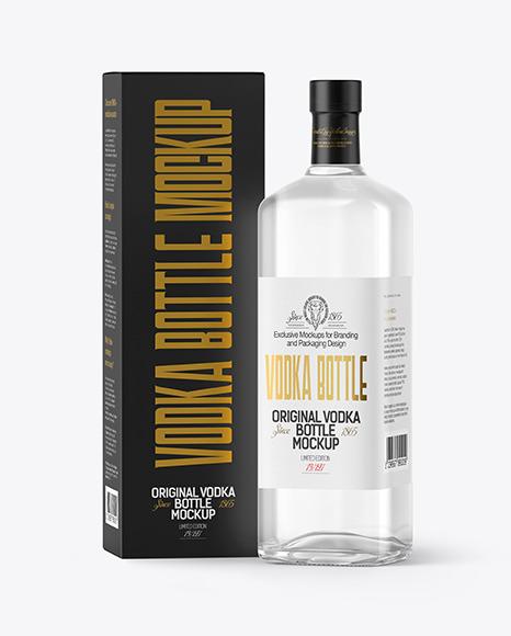 Vodka Bottle with Box Mockup